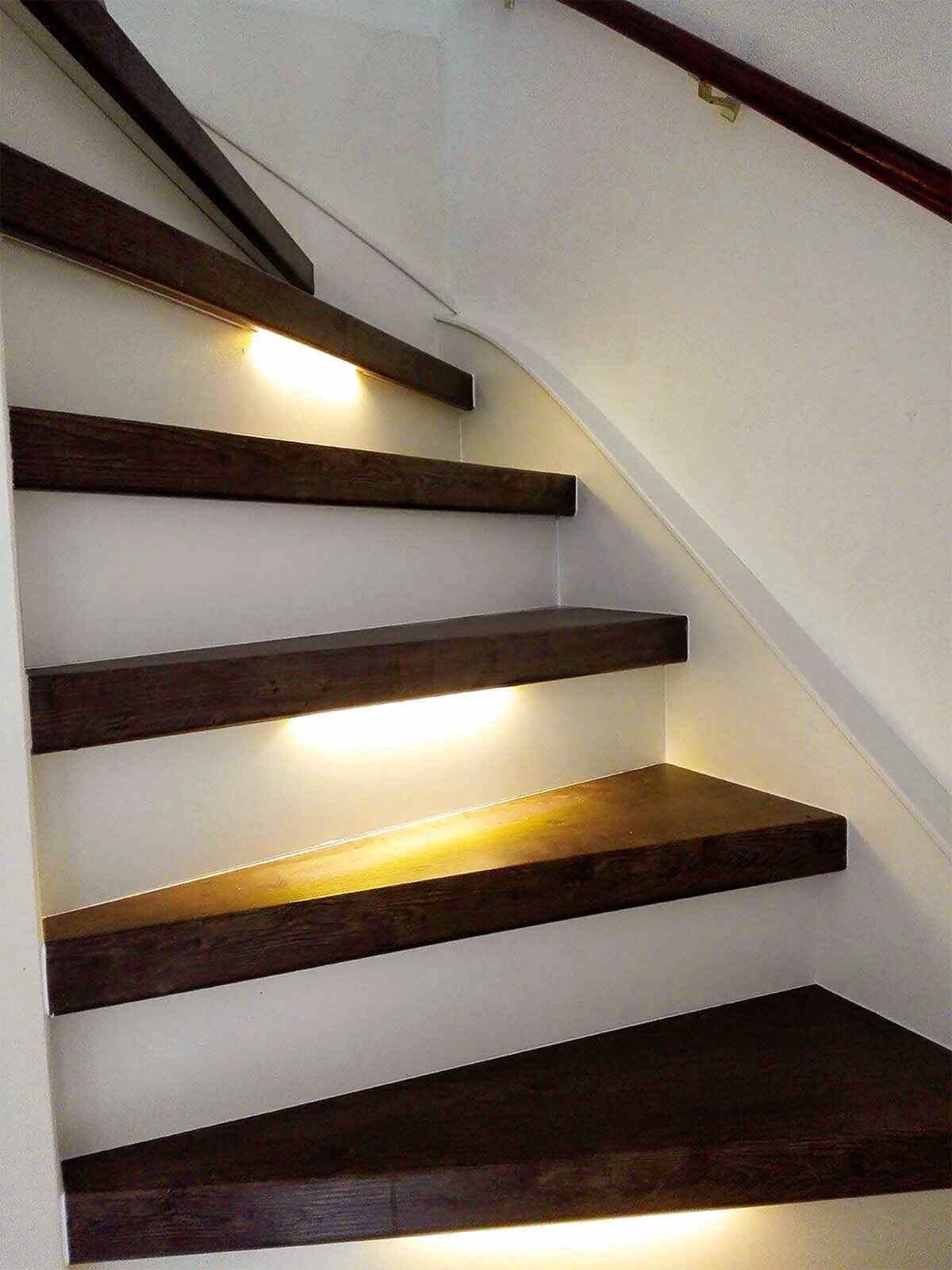 Led verlichting kan een trap helemaal af maken.